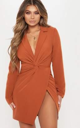 PrettyLittleThing Rust Knot Detail Wrap Blazer Dress