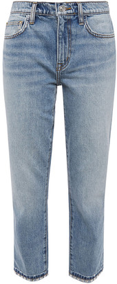 Current/Elliott The Turnt Fling Cropped Spiked Mid-rise Slim-leg Jeans