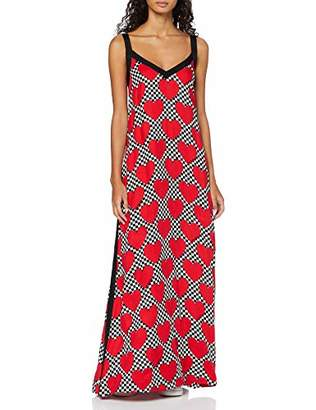 Love Moschino Women's Sleeveless Long Dress_Allover Hearts Prints,(Size: 44)