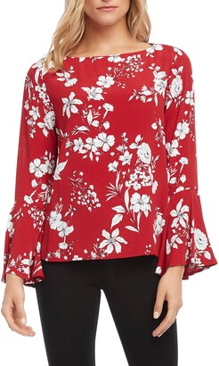 Karen Kane Printed Bell Sleeve Top
