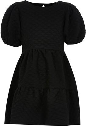 River Island Girls Black textured smock dress