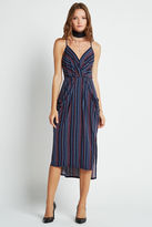 BCBGeneration Striped Midi Faux Wrap Dress - Stormy Sea
