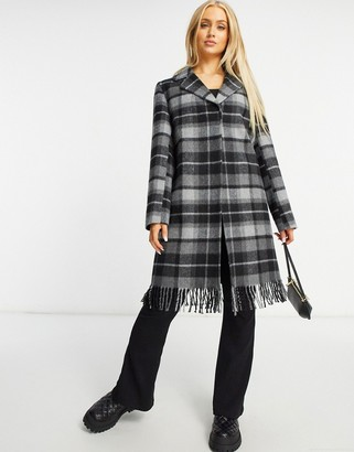 Helene Berman Short Ruth fringed coat in grey check