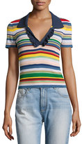 Alice + Olivia Martha Striped Ruffle-Trim Polo Shirt, Multicolor