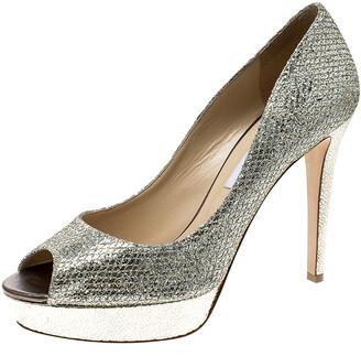Jimmy Choo Metallic Silver Glitter Fabric Dahlia Platform Peep Toe Pumps Size 41.5