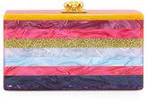 Edie Parker Jean Striped Acrylic Clutch Bag, Fuchsia Multi