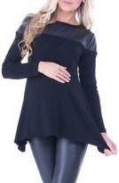 Olian Women's Bailey Faux Leather Yoke Maternity Top