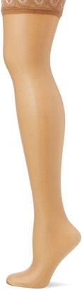 Pretty Polly Women's Nylons - Gloss Lace Top Hold Ups 10 DEN Tights