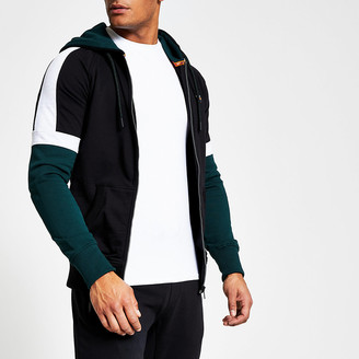 River Island Superdry black colour block zip hoodie