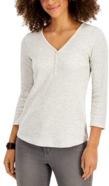 Style&Co. Style & Co Petite Heathered Waffled Henley Top, Created for Macy's