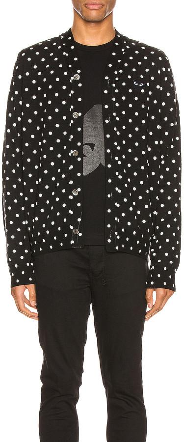 Comme des Garcons Dot Print Wool Cardigan with Black Emblem in Black & Natural   FWRD