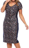 Layla Jones S/SL MULTI COLORED LACE DRESS WITH SIDE PANEL