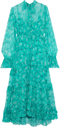 Zimmermann Moncur Tiered Floral-print Silk-georgette Midi Dress
