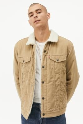 Levi's True Chino Corduroy & Sherpa Trucker Jacket - Beige S at Urban Outfitters