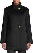 Fleurette Funnel-Neck Top Coat w/ Large Buttons