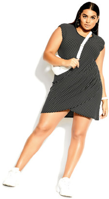 City Chic Tangled Stripe Dress - black