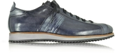Forzieri Italian Handcrafted Black/Blue Washed Leather Sneaker
