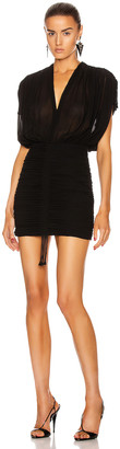 Saint Laurent V Neck Mini Dress in Black | FWRD
