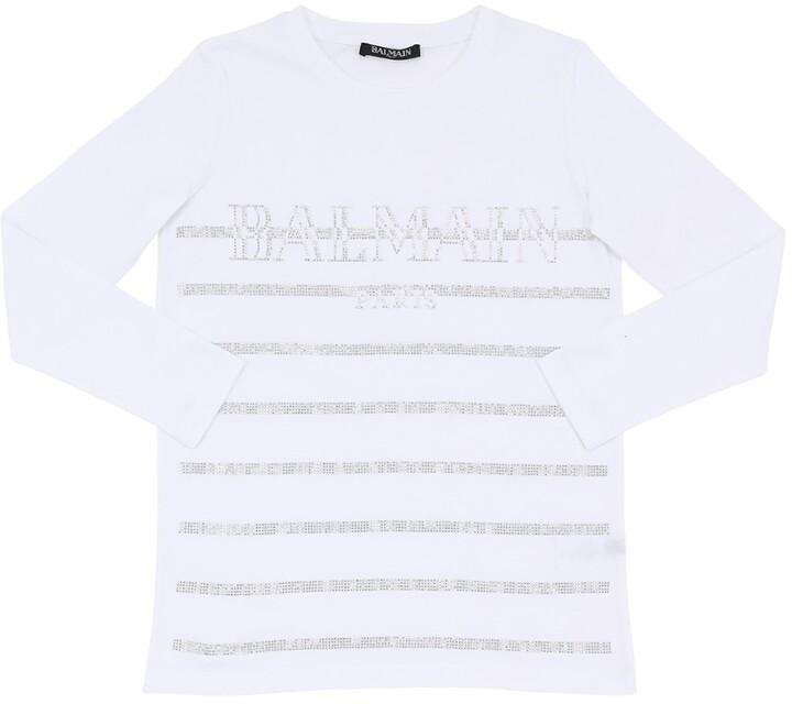 Balmain Embellished L/s Cotton Jersey T-shirt