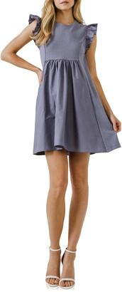 ENGLISH FACTORY Mixed Media Ruffle Dress