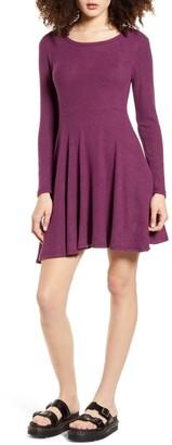 Lulus Ribbed Long Sleeve Fit & Flare Minidress