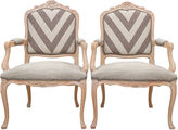One Kings Lane Vintage Greek Key Rocaille Fauteuils, Pair