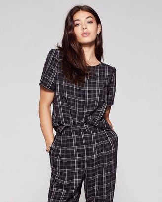 Vince Camuto Plaid Crepe Blouse