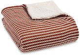 Harvest Stripe Knit Sherpa Throw Blanket in Rust/Cream