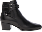 Saint Laurent Leather Blake Buckle Boots