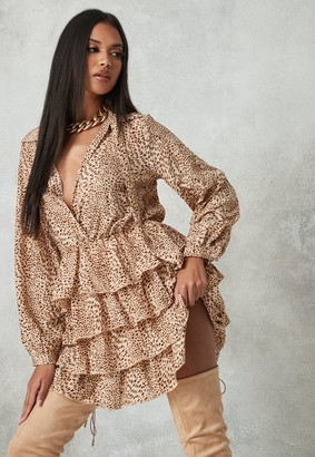 Missguided Brown Leopard Print Tiered Shirt Dress