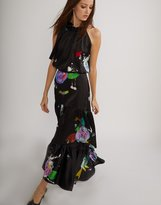 Cynthia Rowley Dark Floral Charmeuse Tiered Maxi Skirt