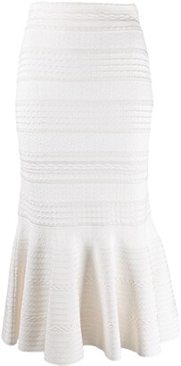 Alexander McQueen Ruffled-Hem High-Waisted Skirt
