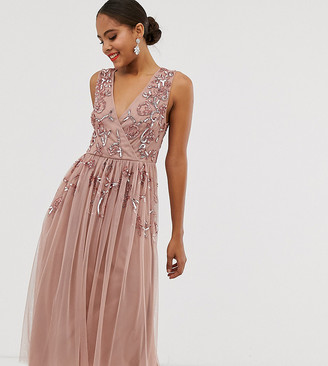 Maya Tall wrap front floral embellished midi dress in pale mauve-Purple