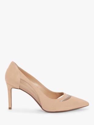 John Lewis & Partners Annika Mesh Insert Stiletto Heel Court Shoes, Nude