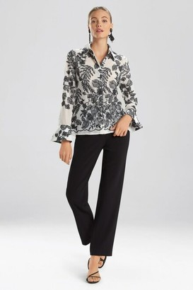 Natori Floral Embroidery Blouse
