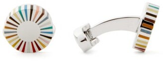 Paul Smith Signature-striped Logo-engraved Metal Cufflinks - Mens - Silver