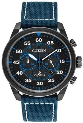 Citizen Men's Eco-Drive Chronograph Avion Blue Nylon Strap Watch, 45mm