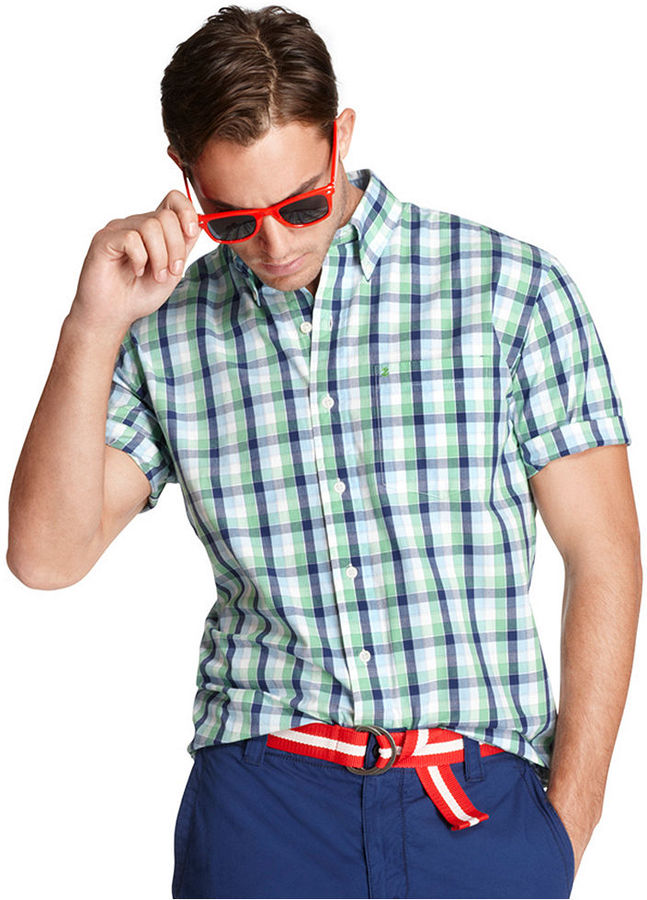 Izod Shirt, Short Sleeve Saltwater Poplin Check Shirt