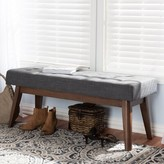 Bronx Faria Wood Upholstered Bench Ivy Upholstery: Dark Gray