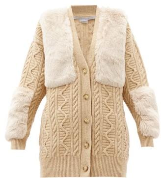 Stella McCartney Faux-fur Panel Cable-knit Wool Cardigan - Camel
