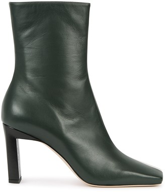Wandler Isa 85 green and ivory leather boots
