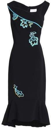 Peter Pilotto Fluted Embroidered Crepe Midi Dress