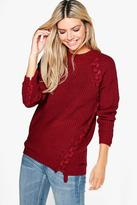 Boohoo Paige Lace Up Detail Fisherman Jumper
