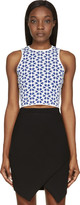 Alexander McQueen Blue & White Floral Knit Cropped Top