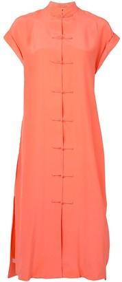 Shanghai Tang Rolled Sleeve Loop Detail Dress