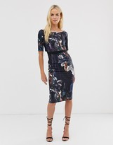 Little Mistress three quarter sleeve floral print pencil midi dress