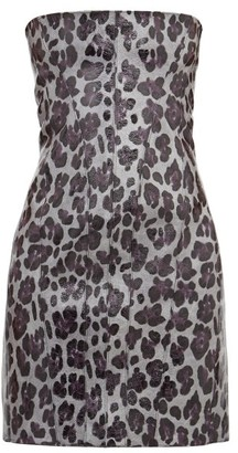 Art School - Strapless Leopard-print Leather Mini Dress - Leopard