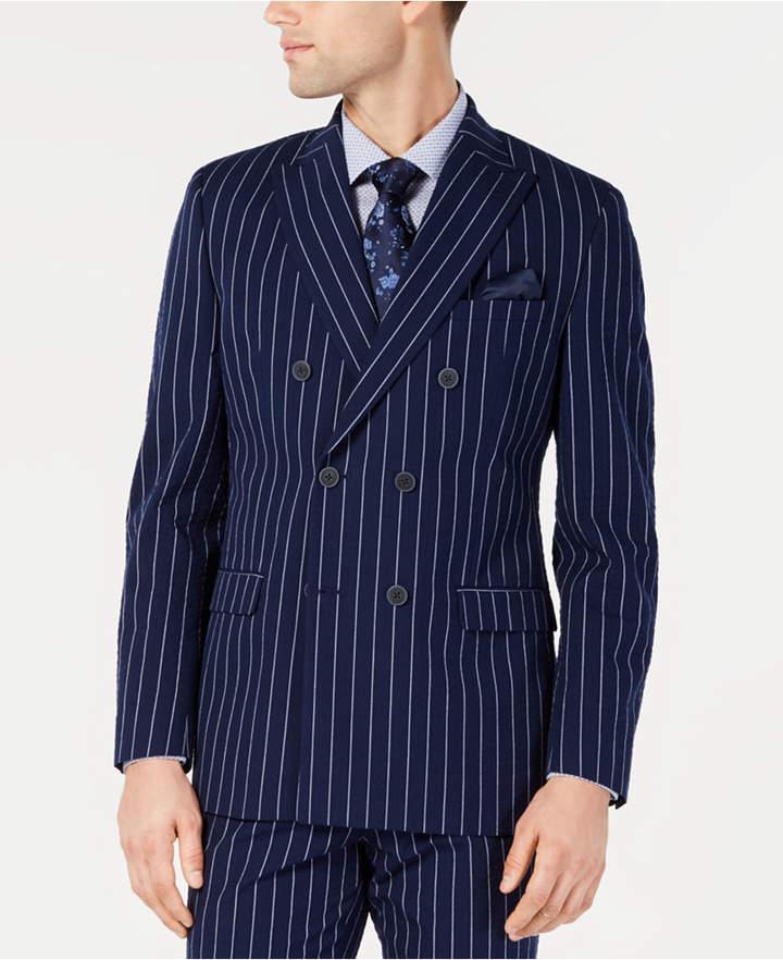 Bar III Men Slim-Fit Seersucker Blue Pinstripe Double Breasted Suit Jacket