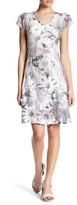 Komarov Lace Sleeve V-Neck Dress (Petite)