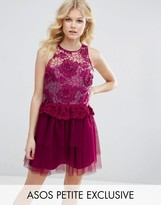 Asos 3D Floral Lace Embroidered Mini Prom Dress